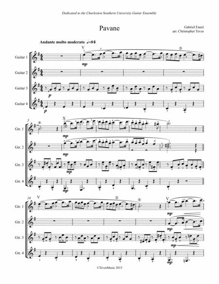Pavane, op 50 for guitar ensemble