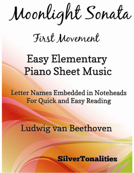 Moonlight Sonata First Movement Easy Elementary Piano Sheet Music