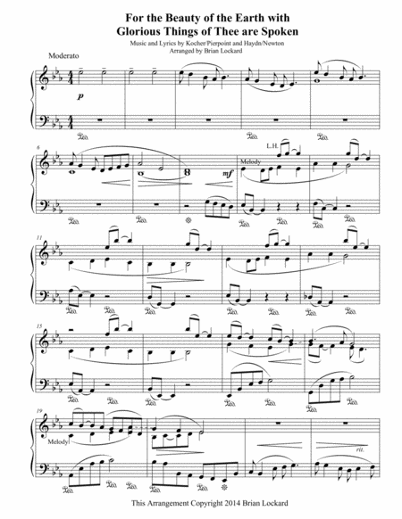 For the Beauty of the Earth with Glorious Things of Thee are Spoken - Solo Piano