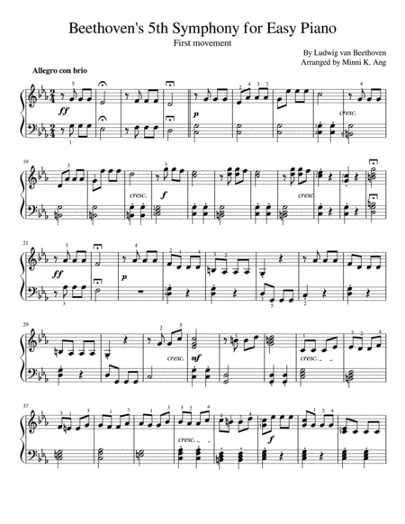 Beethoven's 5th Symphony for Easy Piano