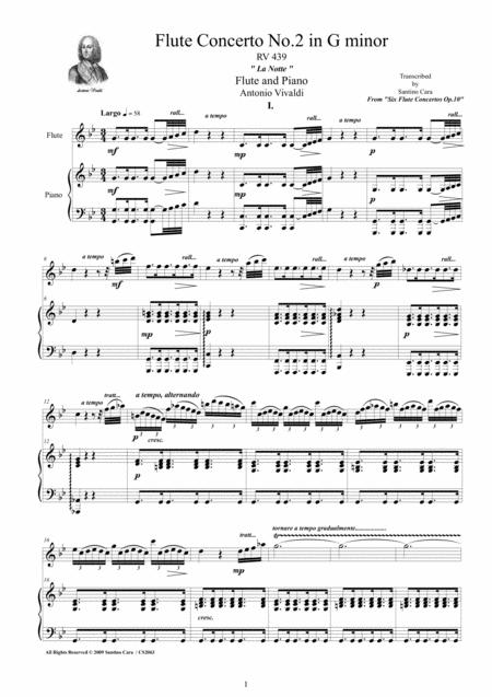 Vivaldi - Flute Concerto No.2 in G minor 'La Notte' Op.10, RV 439 for Flute and Piano