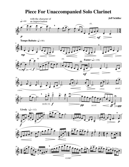 Piece for Unaccompanied Solo Clarinet