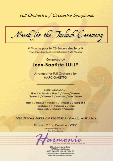 March for the Turkish Ceremony - LULLY - for full orchestra SCORE and PARTS