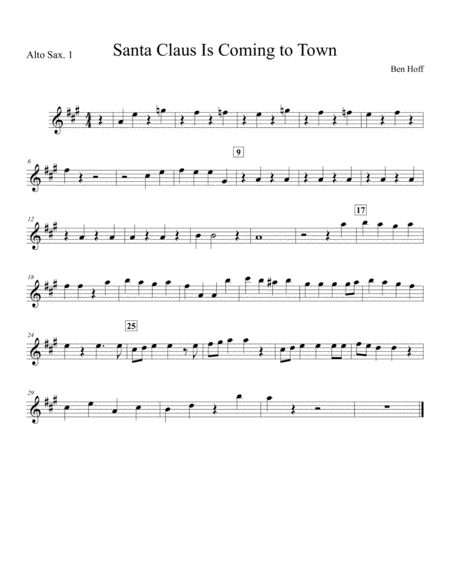 Santa Claus Is Comin' To Town for Sax Quartet
