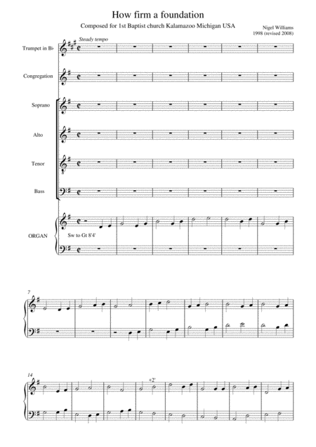 Cantata (How firm a foundation) for choir, trumpet in Bb and organ