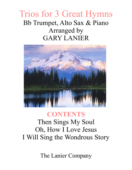 Trios for 3 GREAT HYMNS (Bb Trumpet & Alto Sax with Piano and Parts)