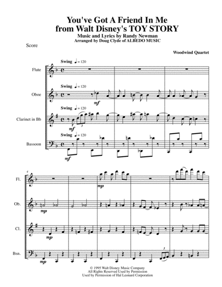 You've Got A Friend In Me from Walt Disney's TOY STORY for Woodwind Quartet