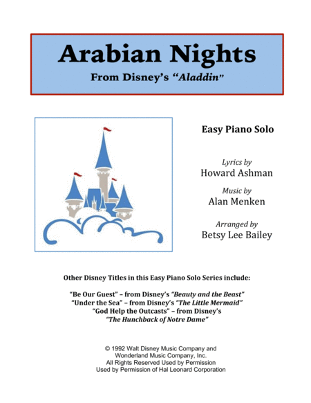 Arabian Nights - Easy Piano Solo