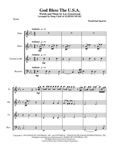 God Bless The U.S.A. for Woodwind Quartet