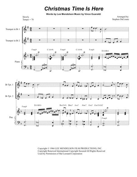 Christmas Time Is Here (Duet for Bb-Trumpet)