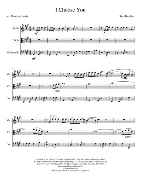 I Choose You (Violin, Viola, Cello)