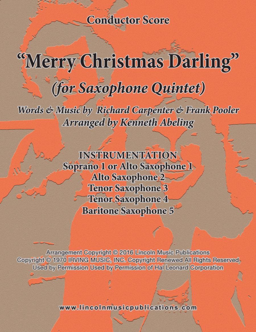 Merry Christmas, Darling (for Saxophone Quintet SATTB or AATTB)