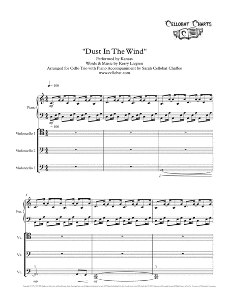 Dust In The Wind - Cello Trio with Piano - Kansas arr. Cellobat