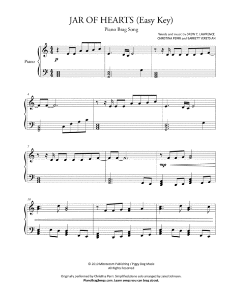Jar Of Hearts (Easy Piano Solo) - Christina Perri