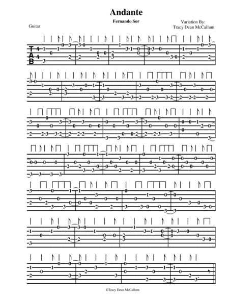 Andante Variation Fernando Sor Guitar Tablature
