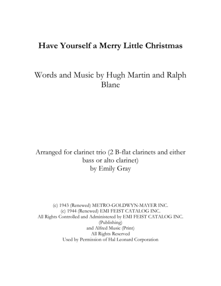 Have Yourself A Merry Little Christmas (Clarinet Trio)