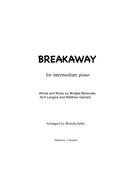 Breakaway for intermediate piano