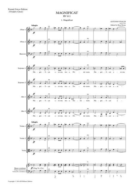 Vivaldi: Magnificat in G minor RV611, (SA soli, SSAA choir, full score and parts)