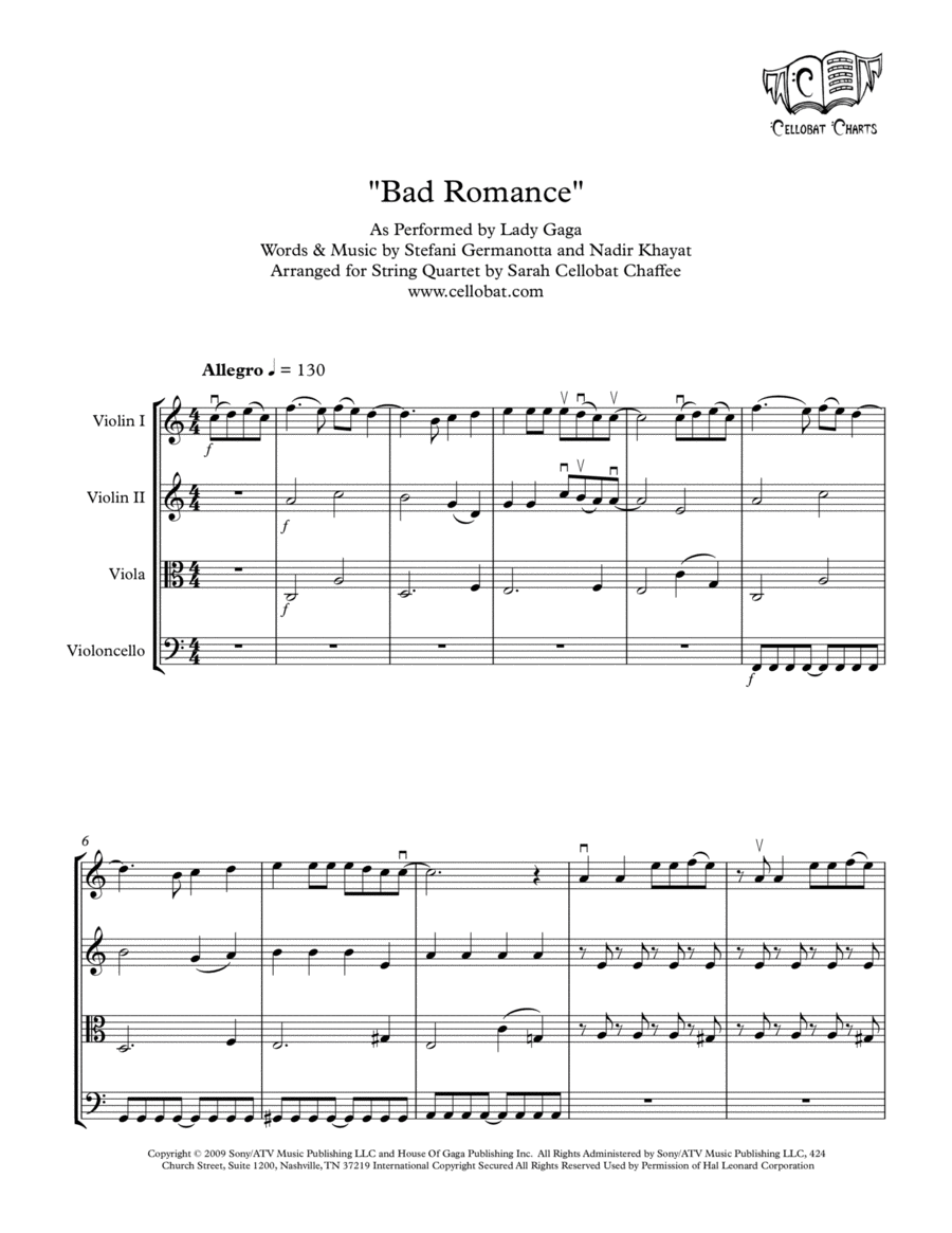Bad Romance - String Quartet - Lady Gaga arr. Cellobat
