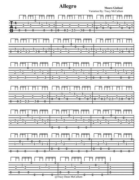Allegro Mauro Giuliani Variation Guitar Tablature