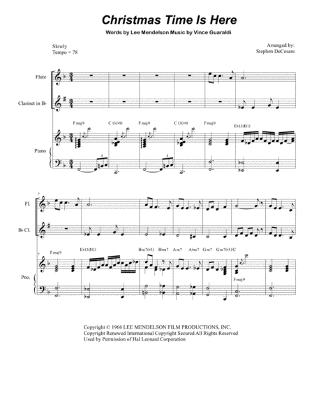 Christmas Time Is Here (Duet for Flute and Bb-Clarinet)