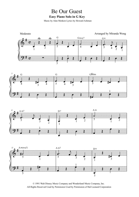 Be Our Guest - Easy Piano Solo in G Key (With Fingerings)