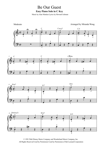 Be Our Guest - Easy Piano Solo in C Key (With Fingerings)