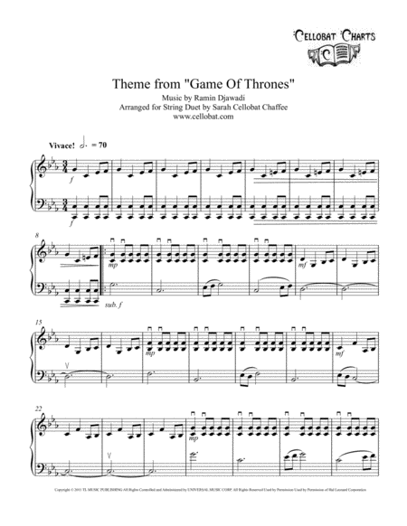 Game Of Thrones - Violin & Cello Duet - Ramin Djawadi arr. Cellobat