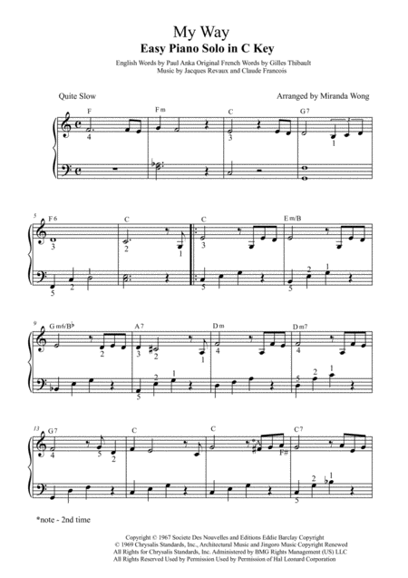 My Way - Easy Piano Solo in C Key (With Fingerings)