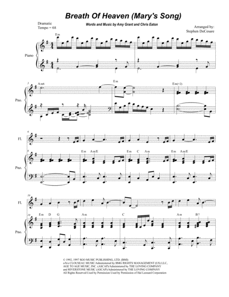 Breath Of Heaven (Mary's Song) (Duet for Flute and Bb-Clarinet)