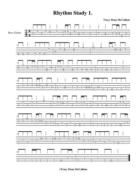 Rhythm Study No. 1 Bass Guitar Tablature