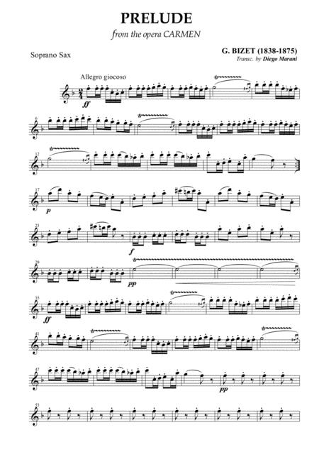 Carmen Overture (Prelude) for Saxophone Quartet