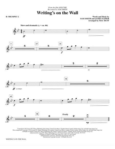 Writing's on the Wall - Bb Trumpet 2