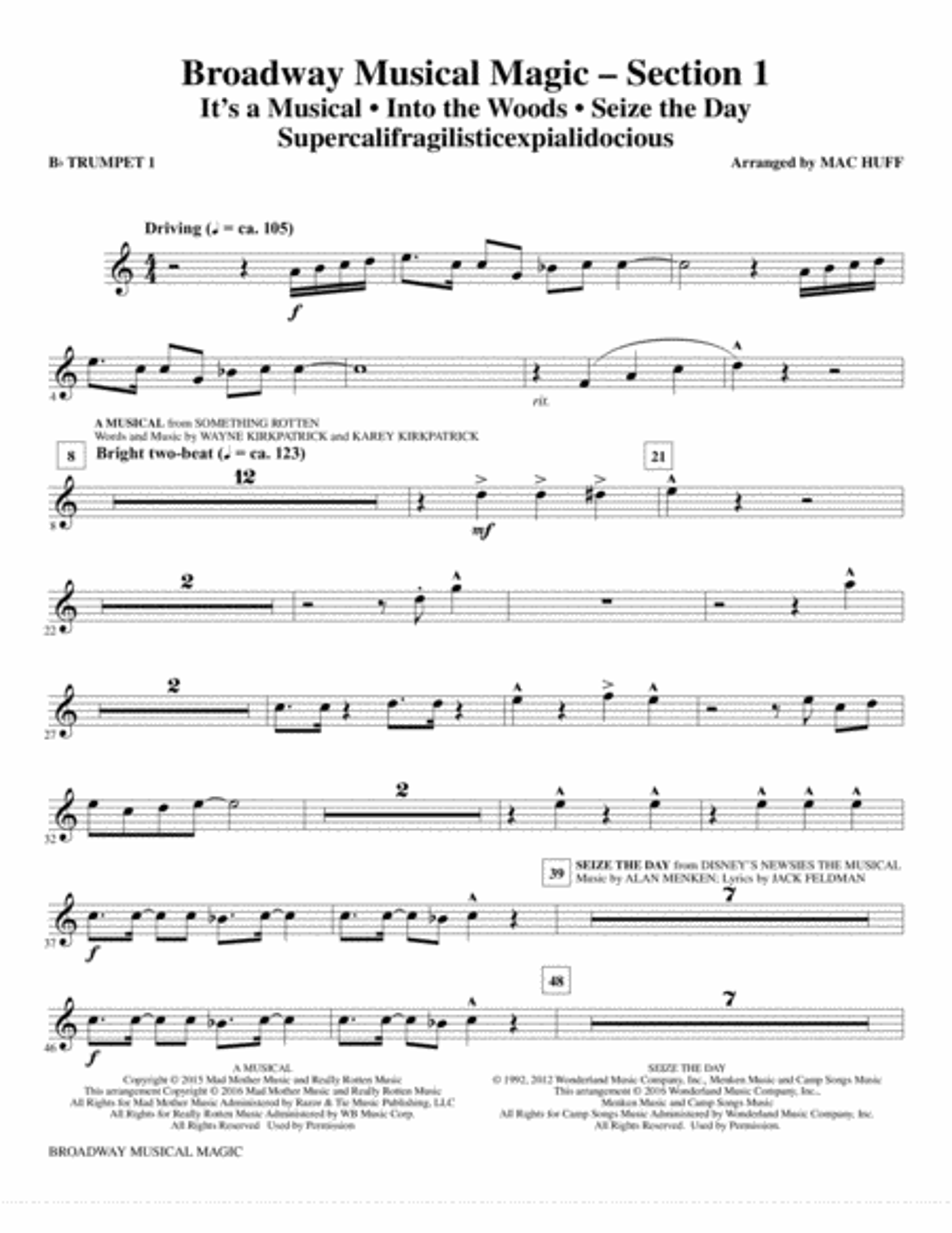 Broadway Musical Magic - Bb Trumpet 1