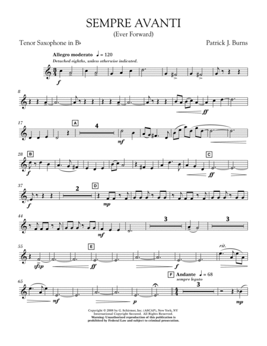 Sempre Avanti - Bb Tenor Saxophone