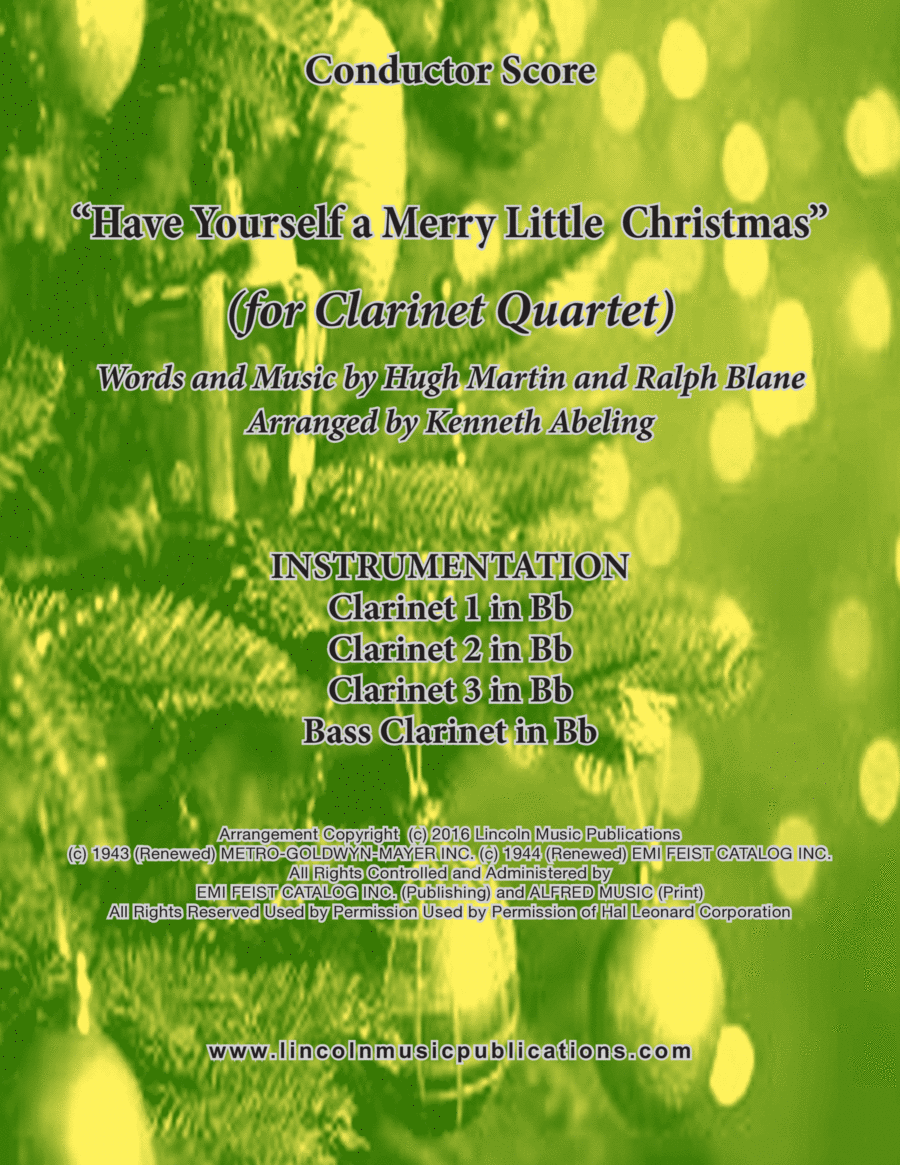 Have Yourself A Merry Little Christmas  (for Clarinet Quartet concert