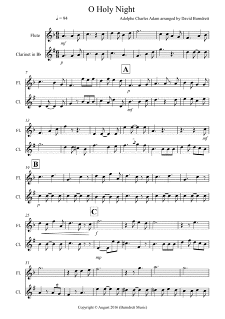 O Holy Night for Flute and Clarinet Duet