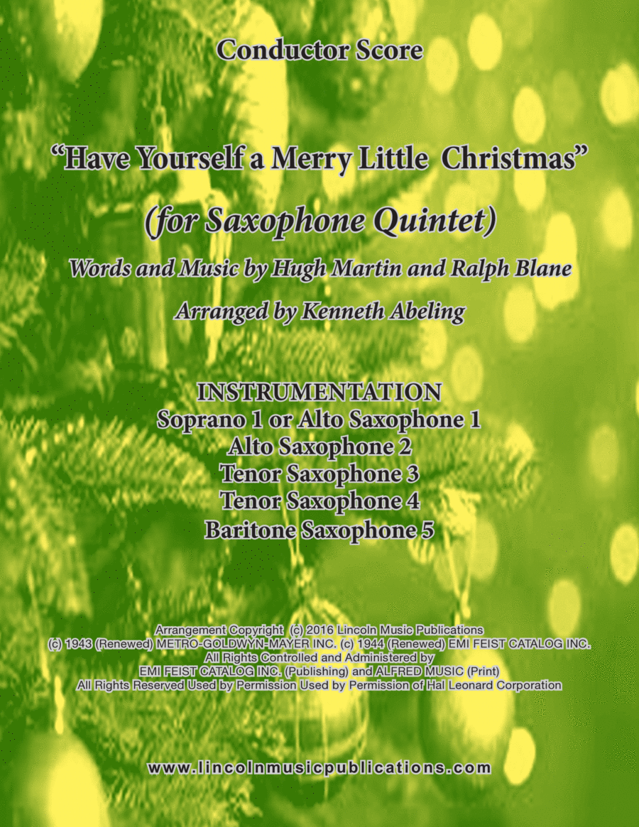 Have Yourself A Merry Little Christmas (for Saxophone Quintet SATTB or AATTB)