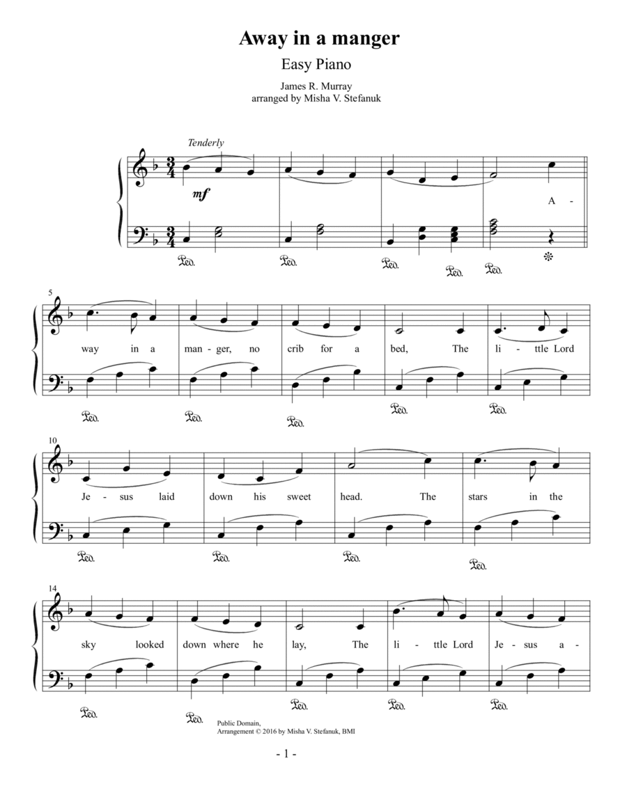 Away in a manger, Easy Piano