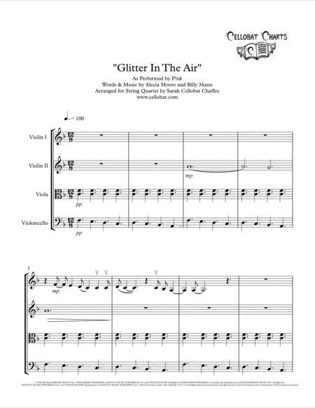 Glitter In The Air - String Quartet - P!nk arr. Cellobat
