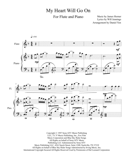 My Heart Will Go On (Love Theme from Titanic) for Flute Solo with Piano Accompaniment