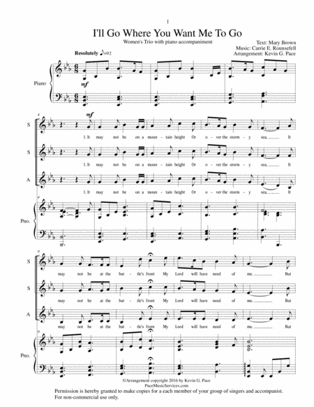 I'll Go Where You Want Me To Go - SSA vocal trio with piano accompaniment