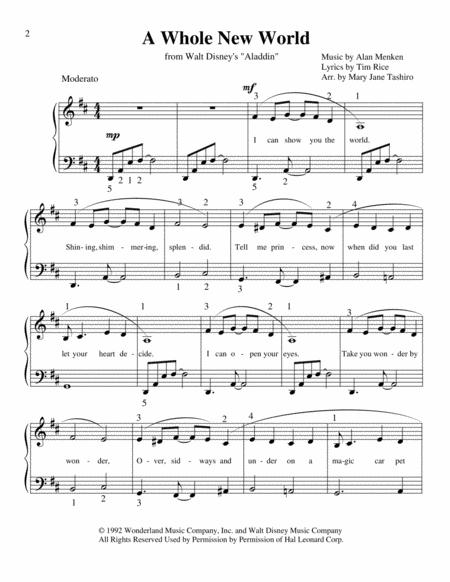 A Whole New World (from 'Aladdin') Easy Piano Arrangement by Mary Jane Tashiro