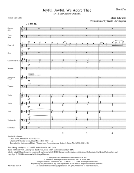 Joyful, Joyful, We Adore Thee  (Chamber Orchestra Score)