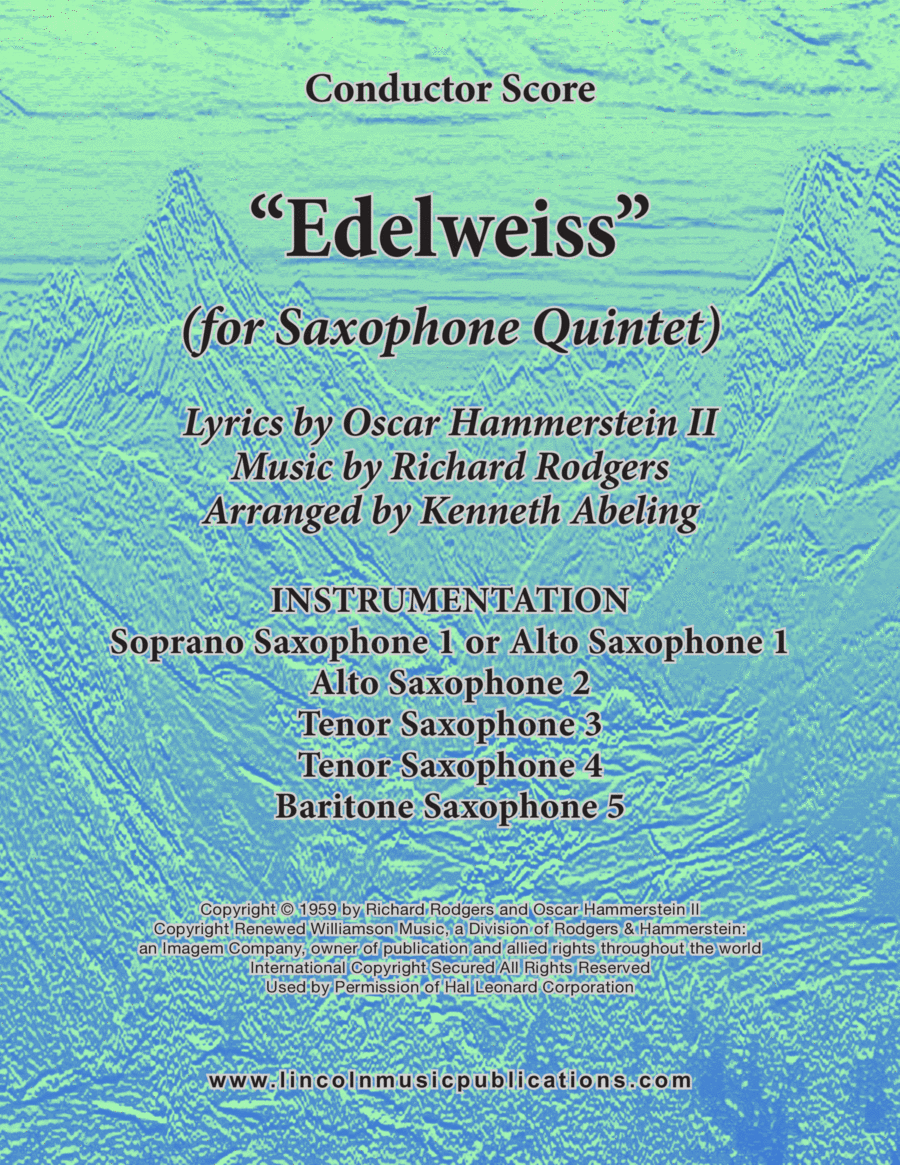 Edelweiss (for Saxophone Quintet SATTB or AATTB)