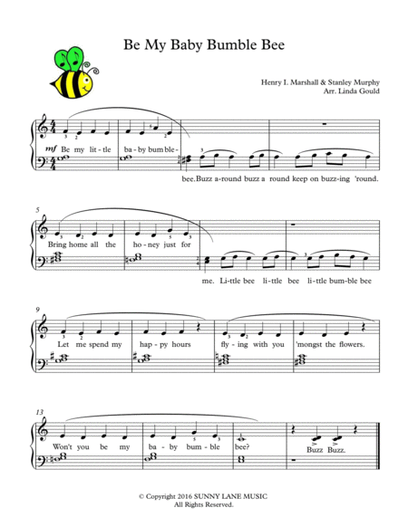 Be My Baby Bumble Bee - Easy/Beginner Piano