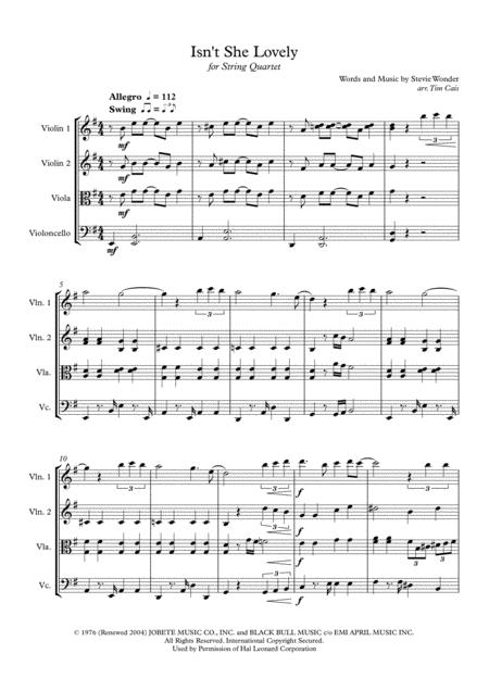 Stevie Wonder: Isn't She Lovely - String Quartet
