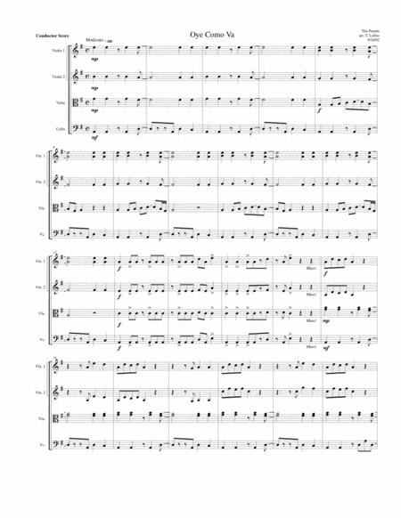 Oye Como Va for String Quartet