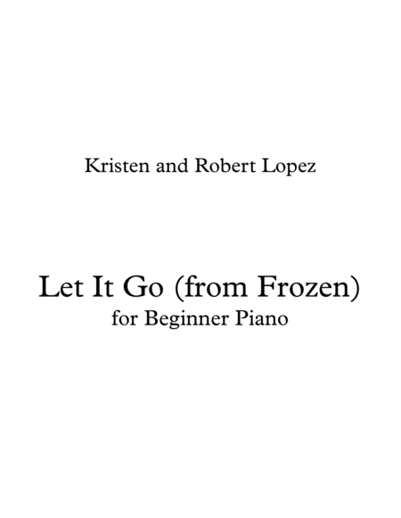 Let It Go (from Frozen) - for beginner piano