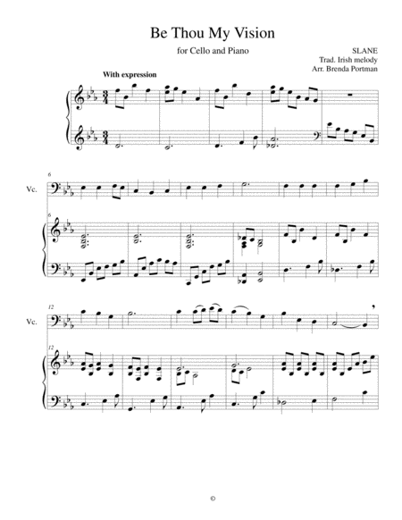 Be Thou My Vision (cello/piano), arr. Brenda Portman